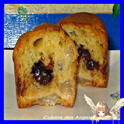 Recette facile et économique de muffins à la poire avec un coeur de nutella
