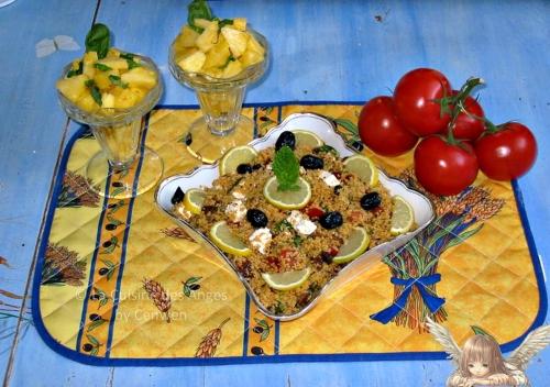 recette de taboulé au citron et à la fêta avec du concombre et des tomates