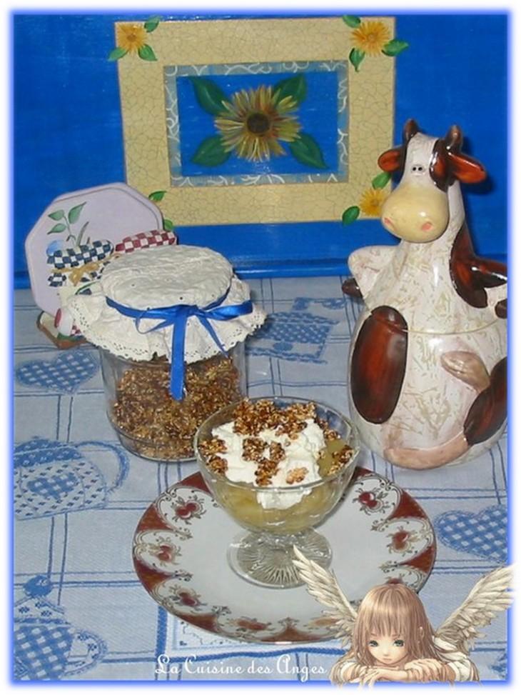Recette de dessert à base de compote de pommes et de yaourt à la noix de coco