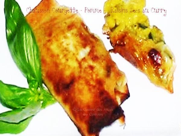 recette de chaussons en feuilles de brick, farce à la courgette, pomme et raisins secs au curry