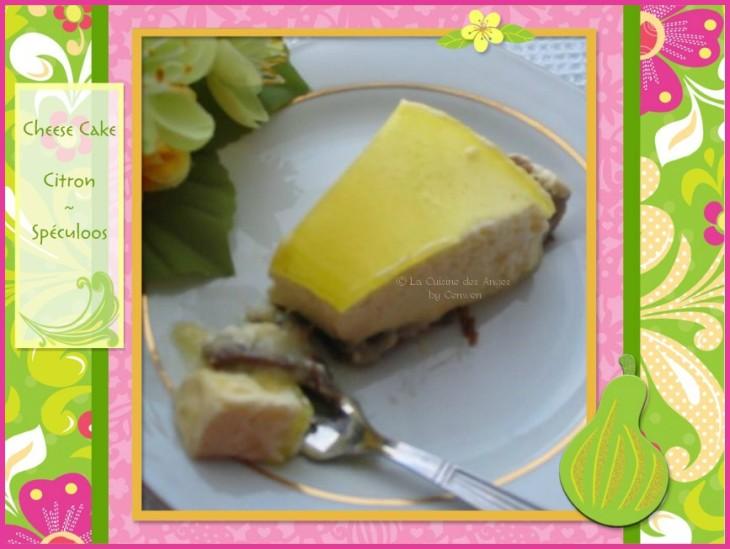 recette de cheese cake sans cuisson, au citron, lemon curd, sur base de spéculoos