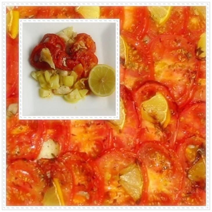 Recette de poisson blanc cuit au four avec des tomates et des pommes de terre