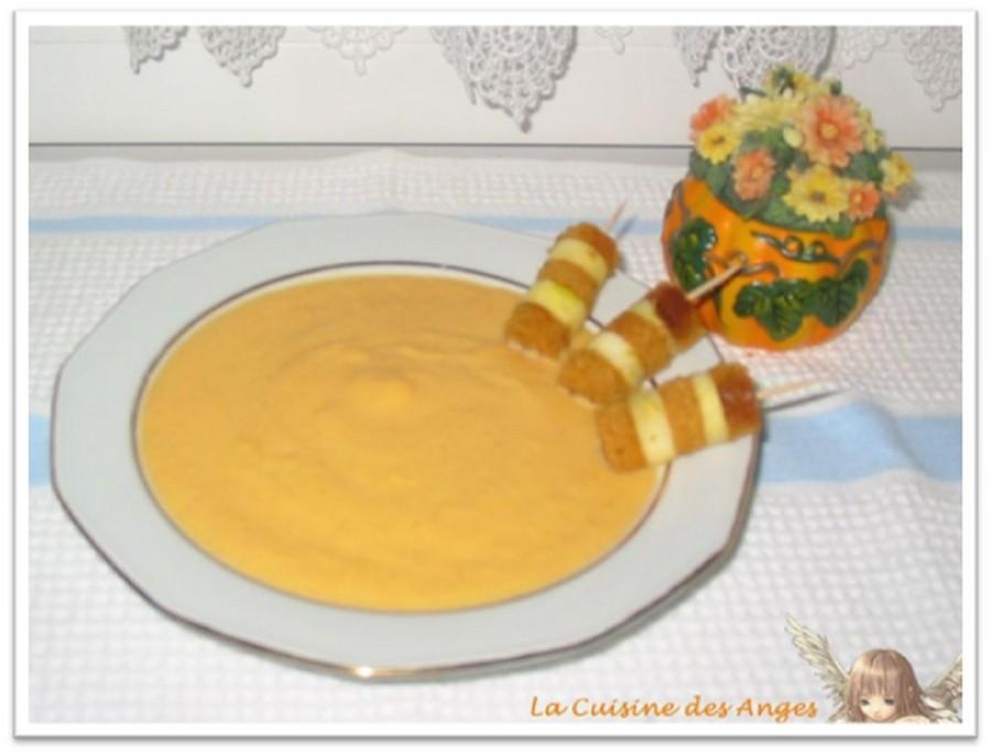 Recette de Velouté de potiron à la Vanille et petites brochettes de pain d'épices