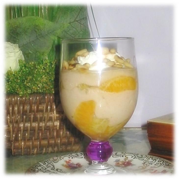 Dessert à base de yaourt, crème de marrons et mandarine, présenté en verrine, cuisiner avec un petit budget