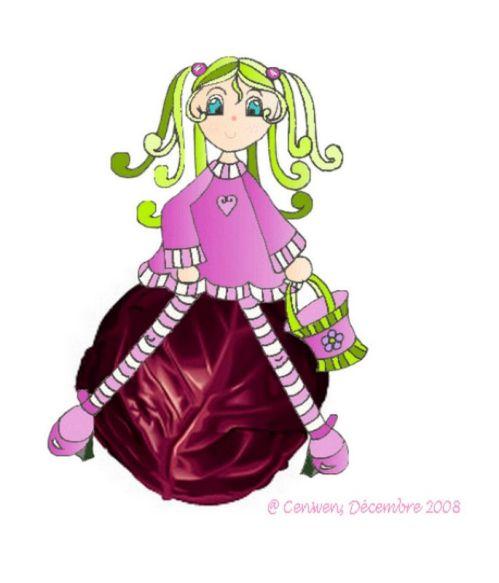 petite fée dessinée, habillée violet et assise sur un chou rouge