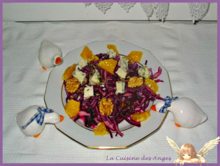 recette de salade composée au chou rouge aux oranges, noix et roquefort, vianigrette au wasabi