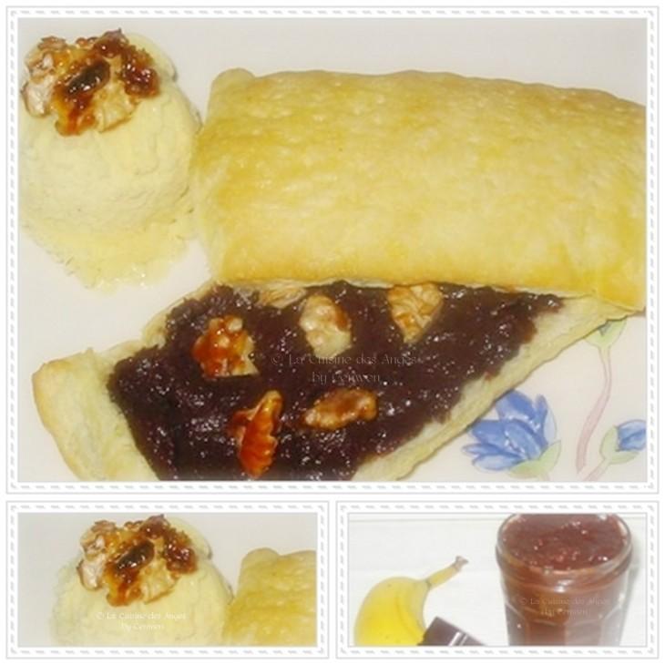 Recette rapide de tartelettes garnies de confiture de chocolat à la banane, servies avec de la glace à la vanille et des noix caramélisées