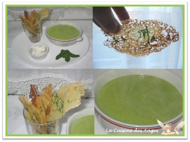 recette de soupe ou velouté aux courgettes et au fromage de chèvre frais et recette de tuiles salées à la menthe