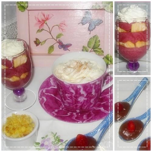 Recette de Café Gourmand : bavarois à la myrtille, cuillères de mousse au chocolat et fraises, crumble aux pommes et cappucino