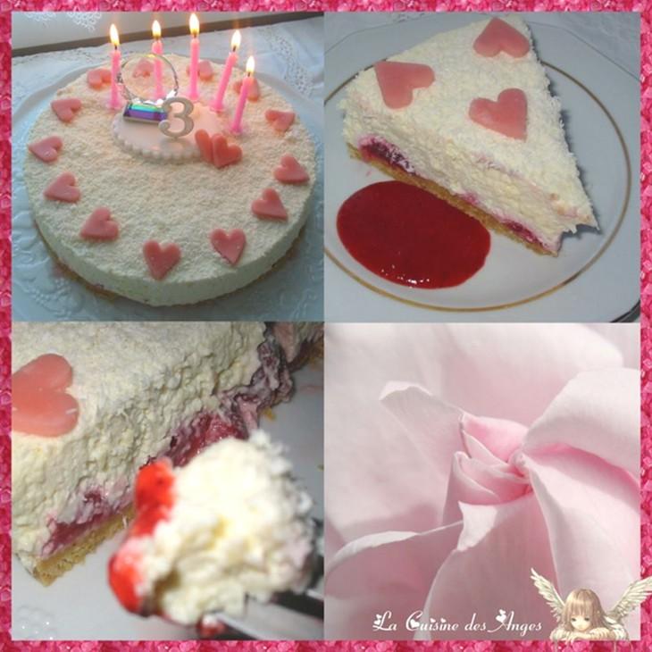 Recette de cheesecake au chocolat blanc, fraises et noix de coco, sans cuisson. Cuisiner avec un petit budget