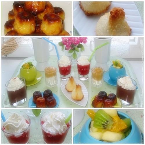 Café Gourmand : congolais, cannelés, cappuccino de fraises, confiture de lait, salade de fruits au gingembre confit, chocolat liégeois