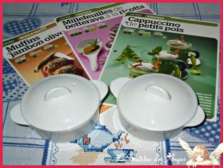 Fiches Cuisine et Cassolettes Rondes en porcelaine blanche