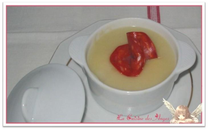 recette de velouté de navets et pommes de terre avec du chorizo