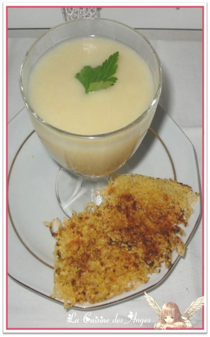 recette de velouté de navets et pommes de terre, tuiles au parmesan