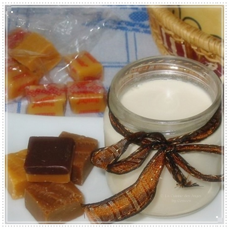 Recette de yaourt sucré fait maison arômatisé aux caramels