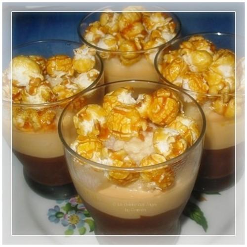 recette de cème au chocolat et au caramel, avec des pop corn