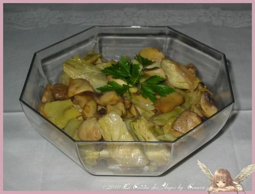Artichauts et champignons poêlés, à servir en accompagnement d'une viande