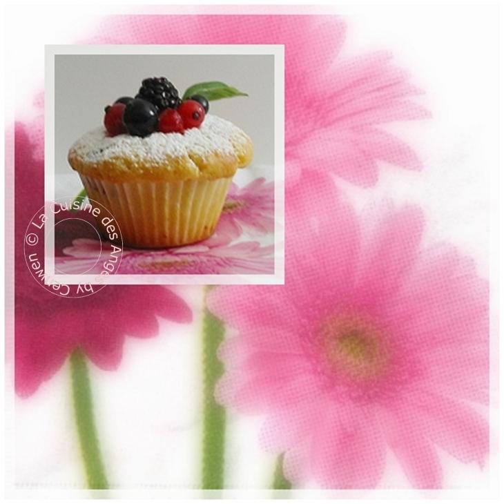 recette de muffins aux fruits rouges et à l'amande douce