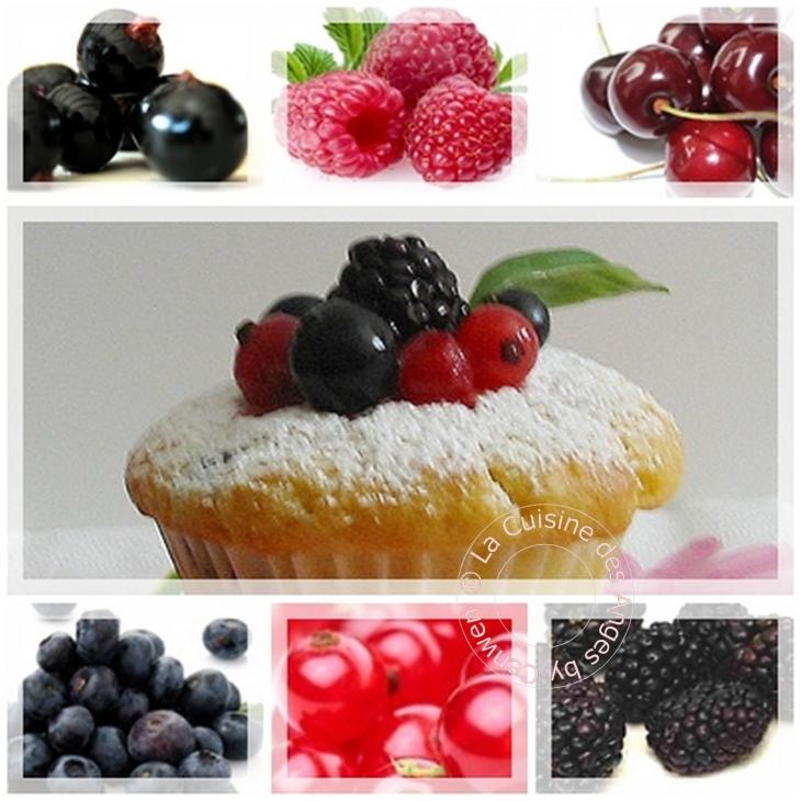 recette de muffins aux fruits rouges parfumés à l'amande douce