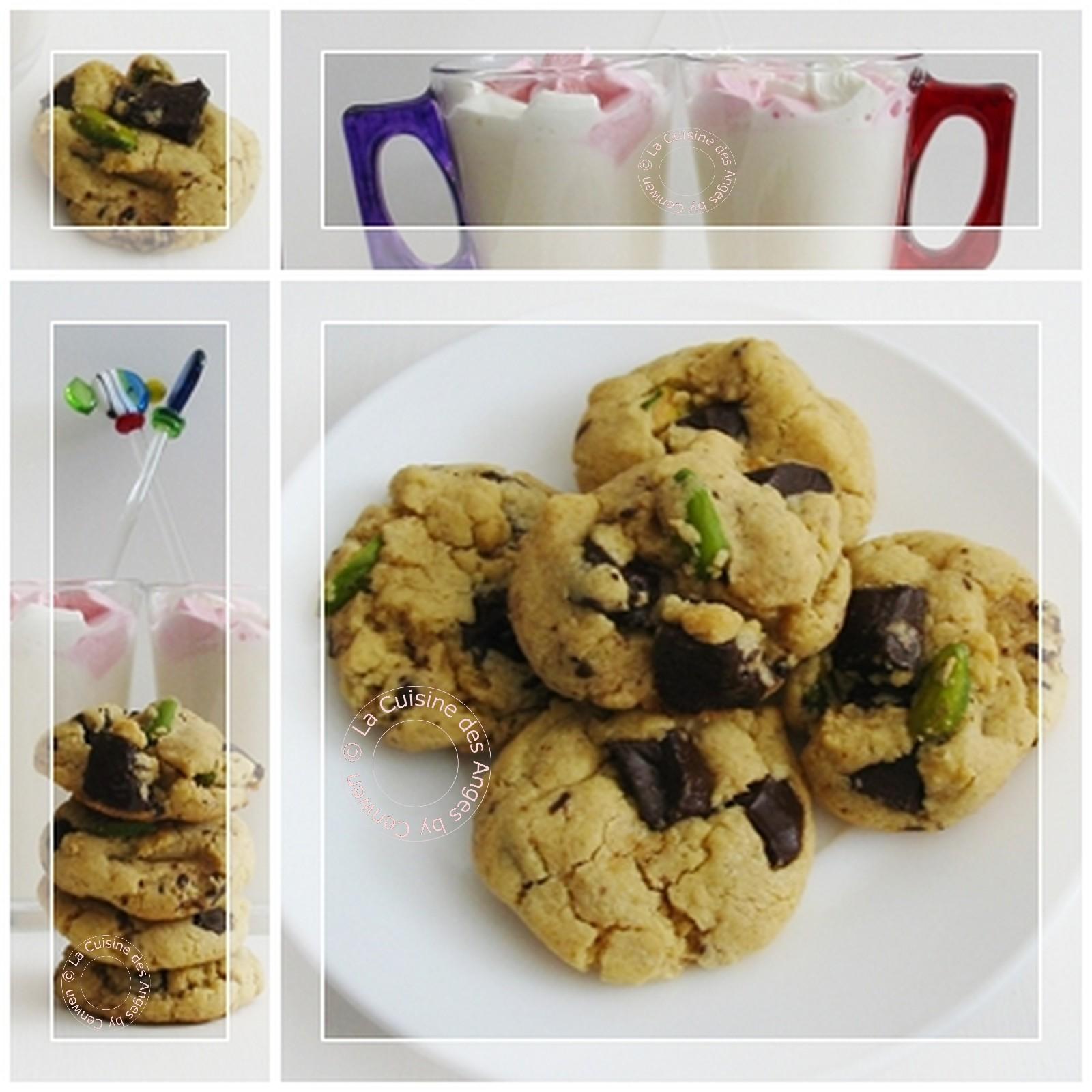 cookies au beurre de cacahu tes p pites de chocolat noir et eclats de pistache la cuisine des. Black Bedroom Furniture Sets. Home Design Ideas