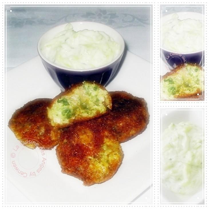 Recette de boulettes de poulet aux aubergines servie accompagnée de sauce au yaourt au concombre et au basilix