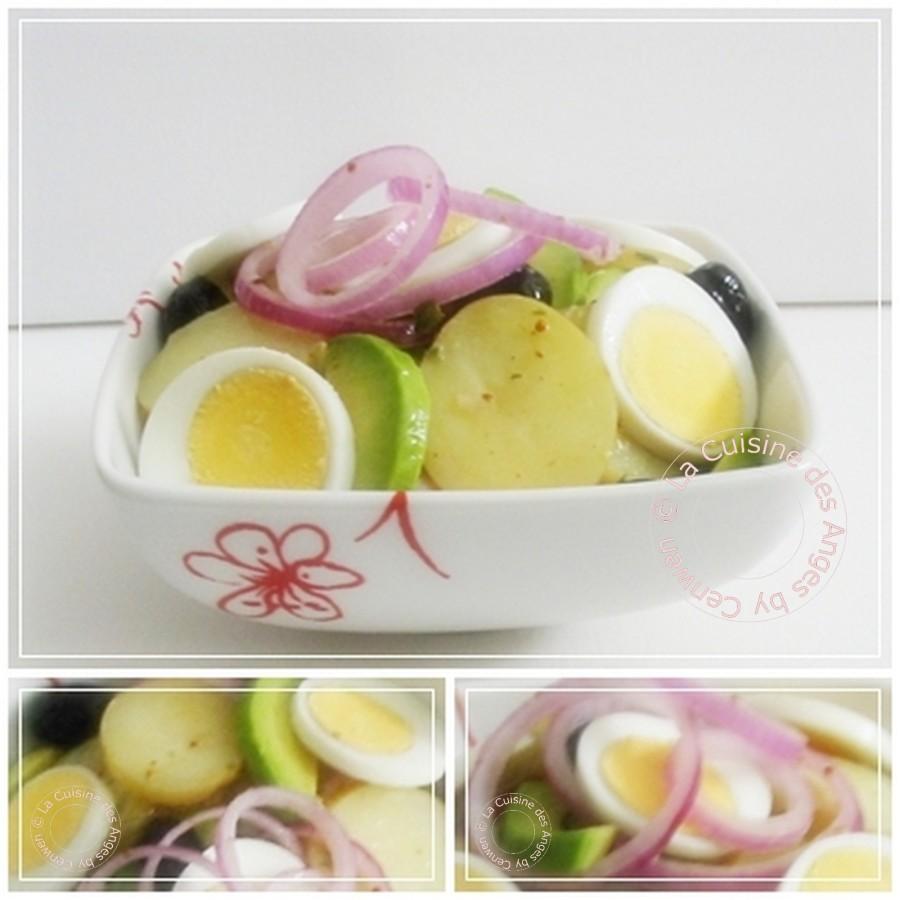 Recette de salade composée avec des pommes de terre, de l'avocat, des oeufs durs, des olives noires, sauce vinaigrette à l'estragon