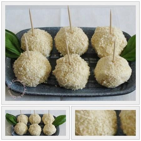 recette pour l'apéritif à base de fromage de chèvre frais d'abricots secs et graines de sésame doré