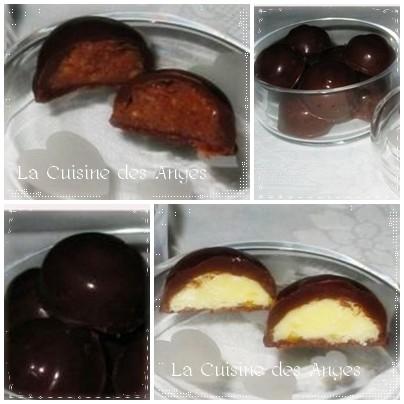 Recette de chocolats maison, coque en chocolat noir fourée pralinoise ou chocolat blanc