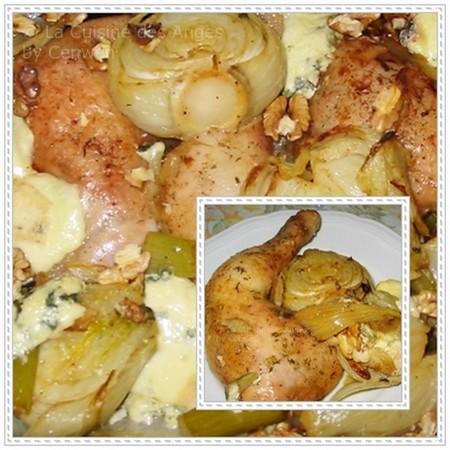 recette de poulet rôti accompagné d'une garniture de fenouil au Roquefort et aux Noix