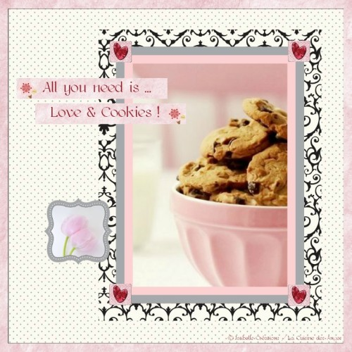 page digiscrap rose et noire sur le thème des cookies