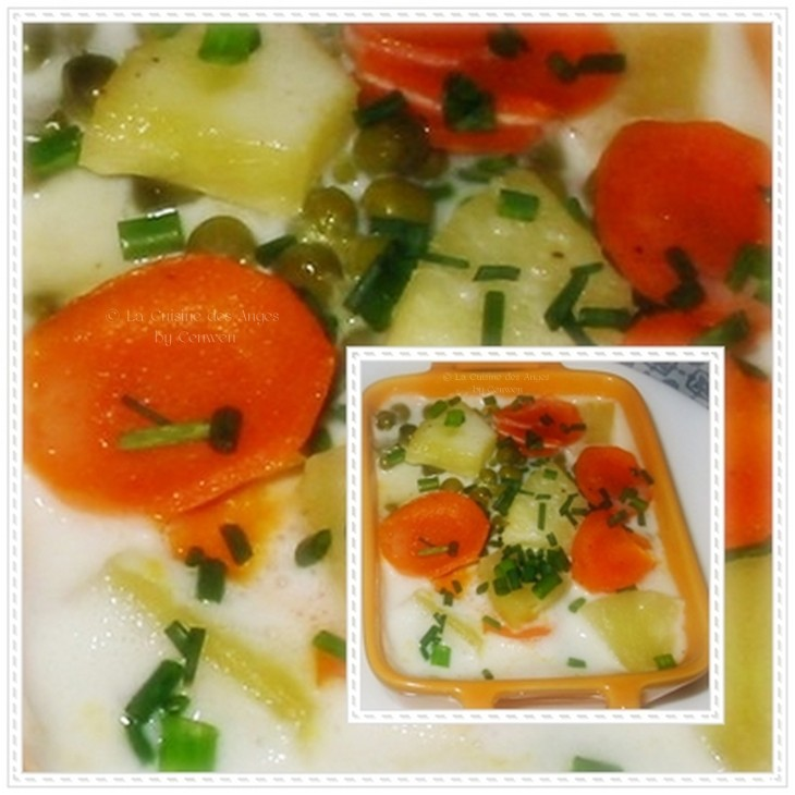Recettesucrée-salée  à base de poisson blanc avec des petits légumes, de dés d'anans  et une sauce au lait de coco