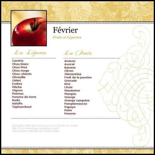 Calendrier des fruits et légumes de saison, fiche mensuelle des fruits et légumes de saison, fruits et légumes de février