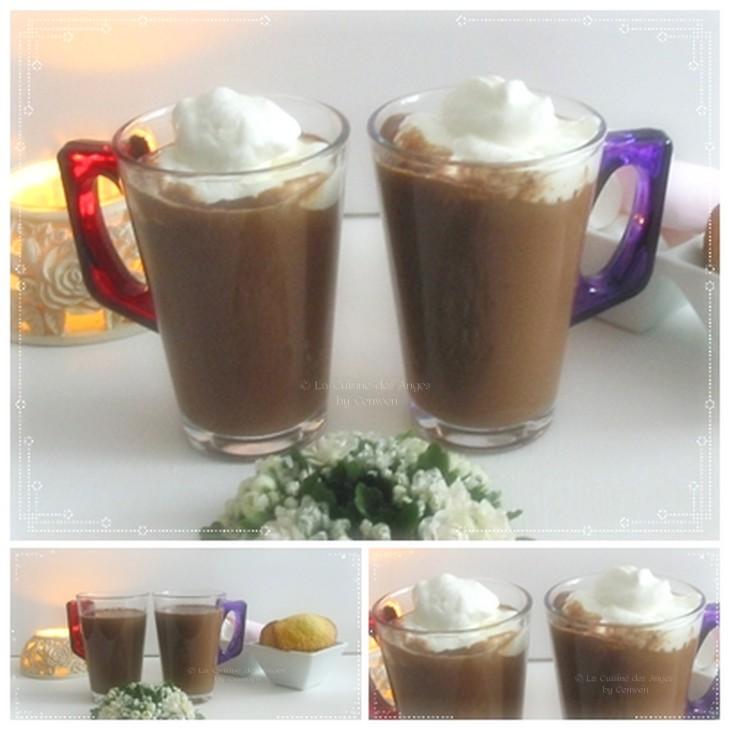 recette de chocolat chaud au gingembre avec de la crème fouettée, accompagné de madeleines et de guimauve