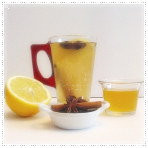 recette traditionnelle du grog, boisson chaude à base d'eau et de rhum, aggrémentée de miel, de citron et d'épices