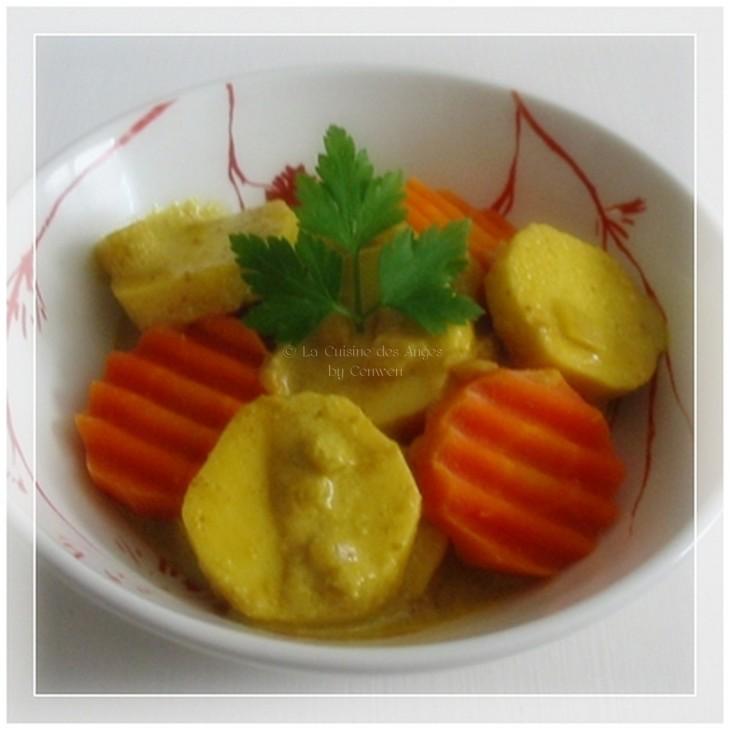 Recette de quenelles au lait de coco et épices à colombo accompagnées de rondelles de carottes cuites à la vapeur