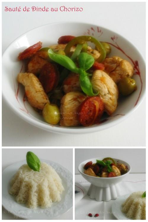 Recette dà base de Dinde ou de Poulet, au Chorizo, Poivrons, Tomates et Olives Vertes