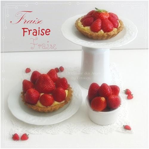 Tarte aux fraises sur pâte sablée aux épices à Spéculoss et crème pâtissière à la vanille