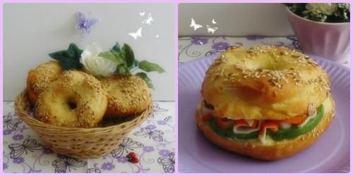 Recette simplifié de bagels, petits pains ronds américains, garniture avocat, surimi, coriande et mayonnaise