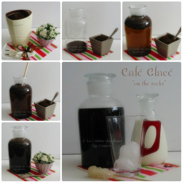 Etape de préparation d'un café glacé, infusé, puis servi sur des glaçons