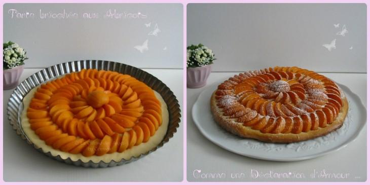 Recette de dessert, tarte fine sur pâte briochée à la vanille, abricots frais et sucre glace
