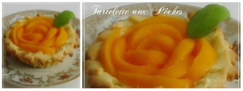 Recette de tartelettes, petites tartes aux fruits sur pâte sucrée, garnie de crème à la ricotta au basilic et pêches au sirop