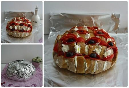 Recette pour l'apéritif, blooming bread garni de chorizo, tomates, olives, pesto et fromage de chèvre