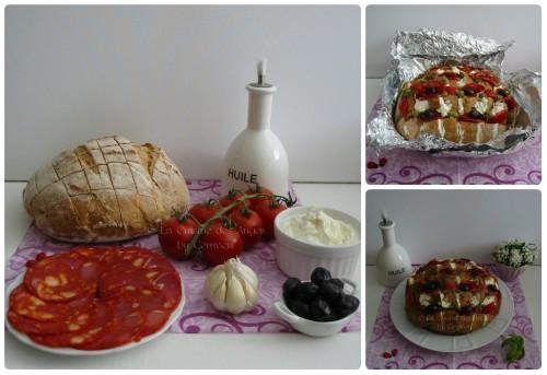 Recette de Blooming bread pour l'apéritif, chorizo, olives, tomates, pesto, ail