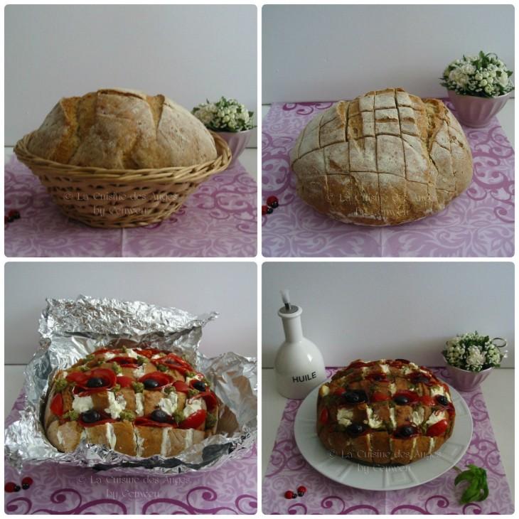 Recette de blooming bread garni de fromage de chèvre, pesto, tomates, olives et chorizo