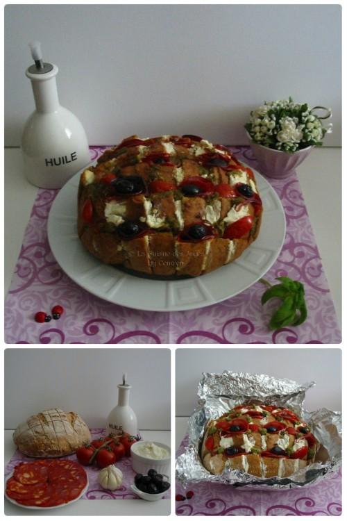 Recette pour l'apéritif, Blooming Bread au chorizo, pesto, olives, fromage de chevre et tomates