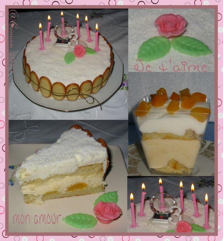 Gâteau d'anniversaire, génoise aux amandes, mousses aux citrons et à l'abricot