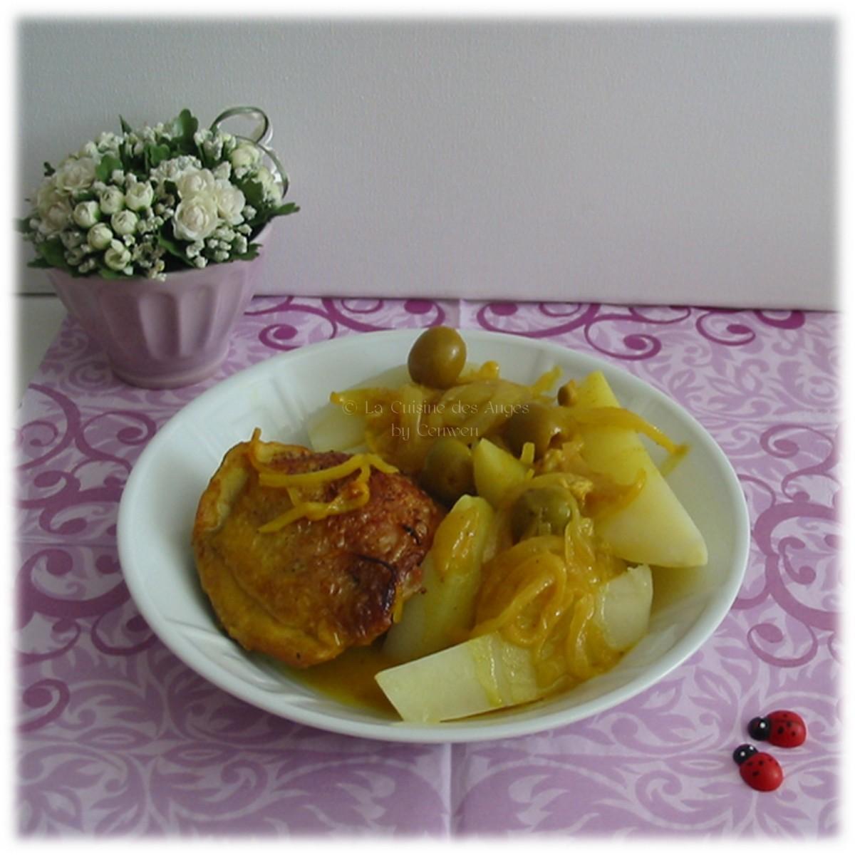 tajine de poulet aux olives et citron la cuisine des anges. Black Bedroom Furniture Sets. Home Design Ideas