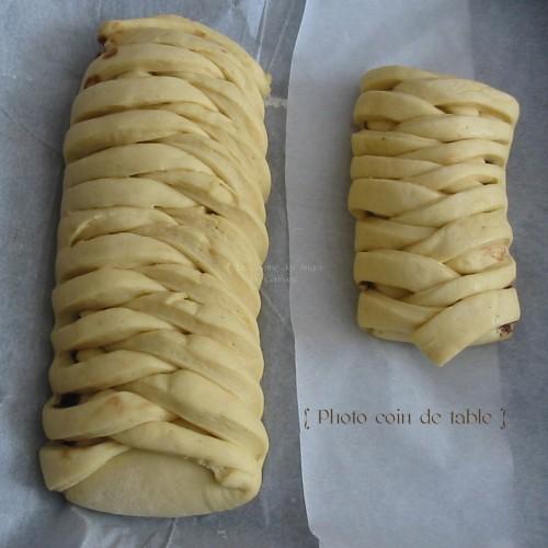 Recette de Brioche tressée et fourée avant cuisson, garniture crème de caramel au beurre salé, chocolat noir et noisettes