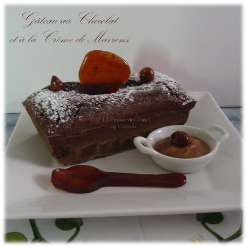 rectte de dessert, de Gâteau au Chocolat et a la crème de marrons accompagé de crème de caramel au beurre salé et de noisettes caramélisées