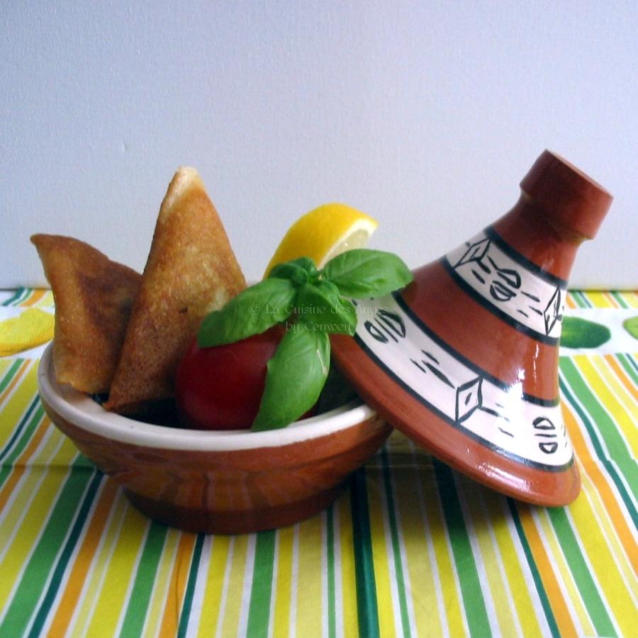 receette à base de feuilles de brick avec du Poulet, de la Courgette, Feta et Menthe
